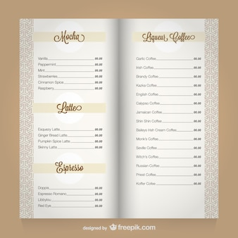 Coffee menu vector template