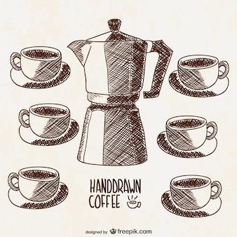 Coffee set drawings