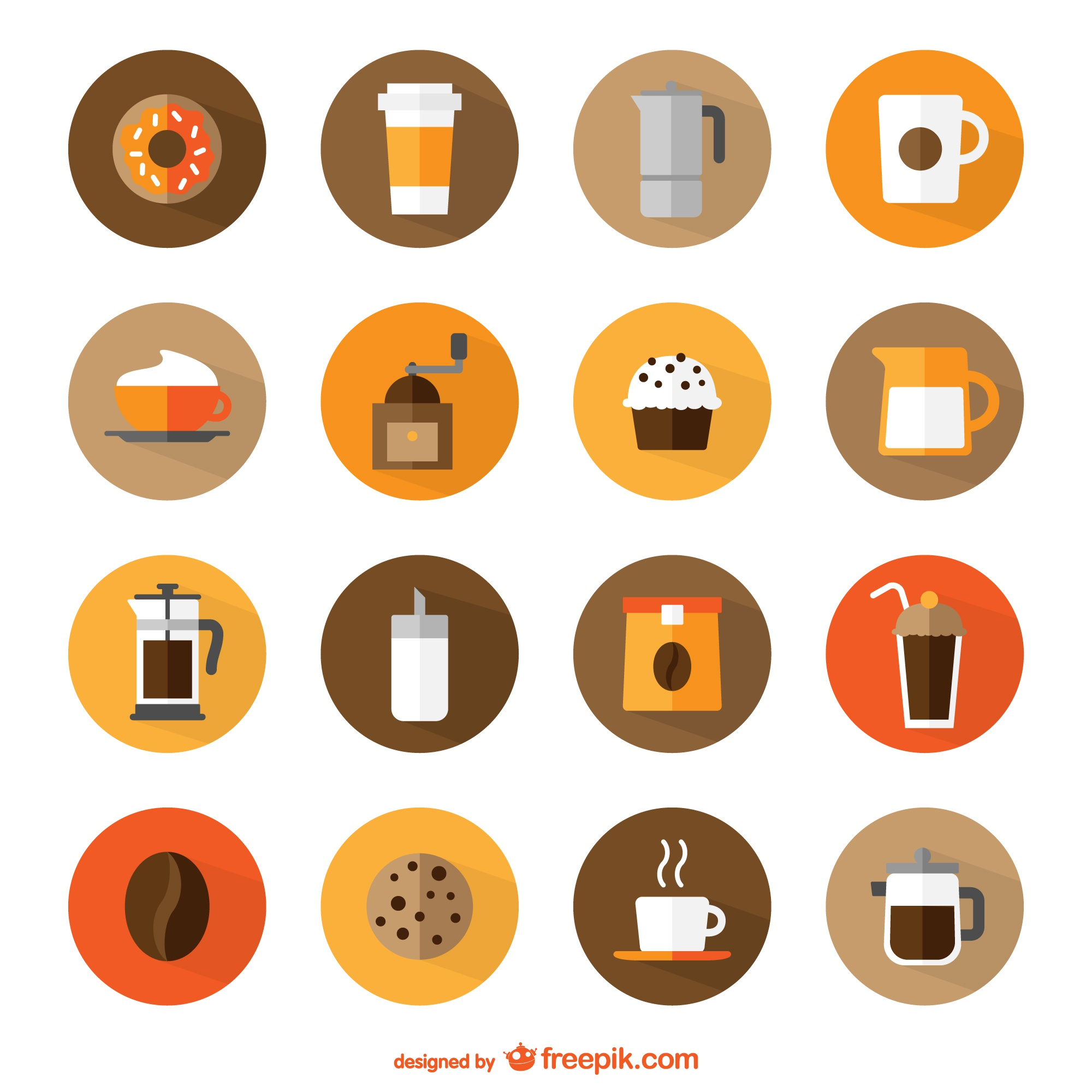 Coffee shop round icons