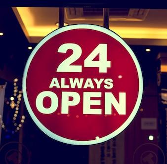 Coffee shop sign 24 always open