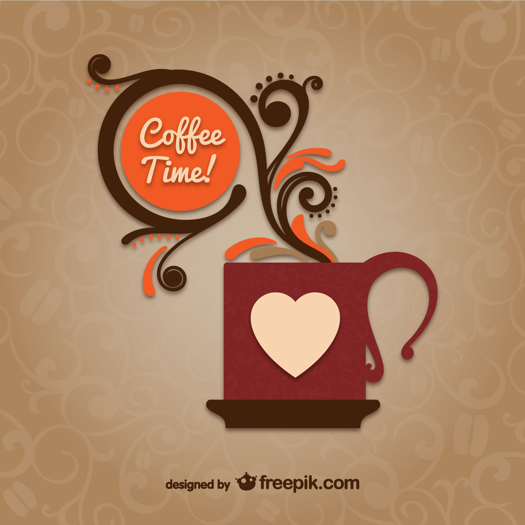 Coffee time vector with mug