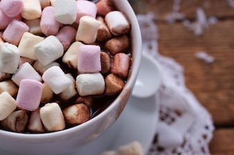Coffee with marshmallows seen from above