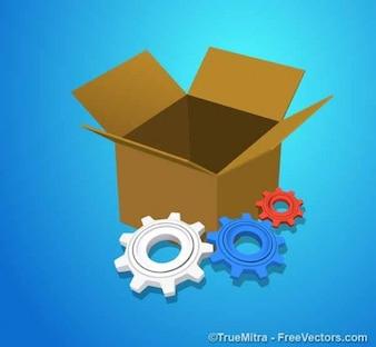 Cogwheel and box on blue