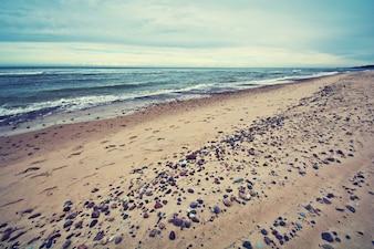 Cold sea in vintage colors.