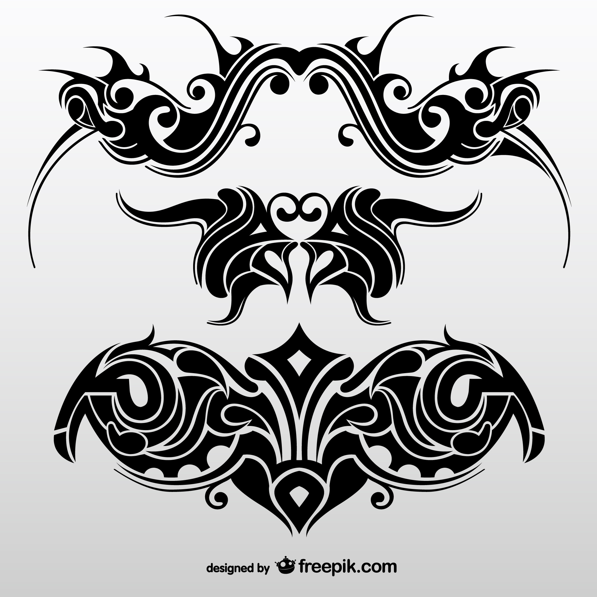 Collection of abstract tribal tattoos