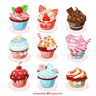 Collection of delicious cupcakes