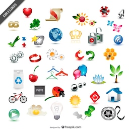 collection of exquisite three dimensional icon vector material