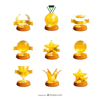 Collection of golden trophies