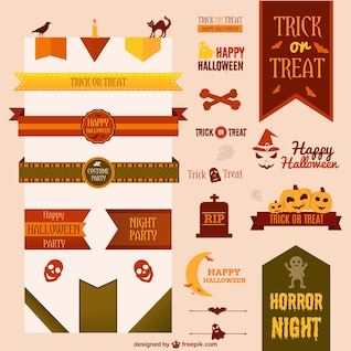 Collection of halloween vector ribbons and decoration