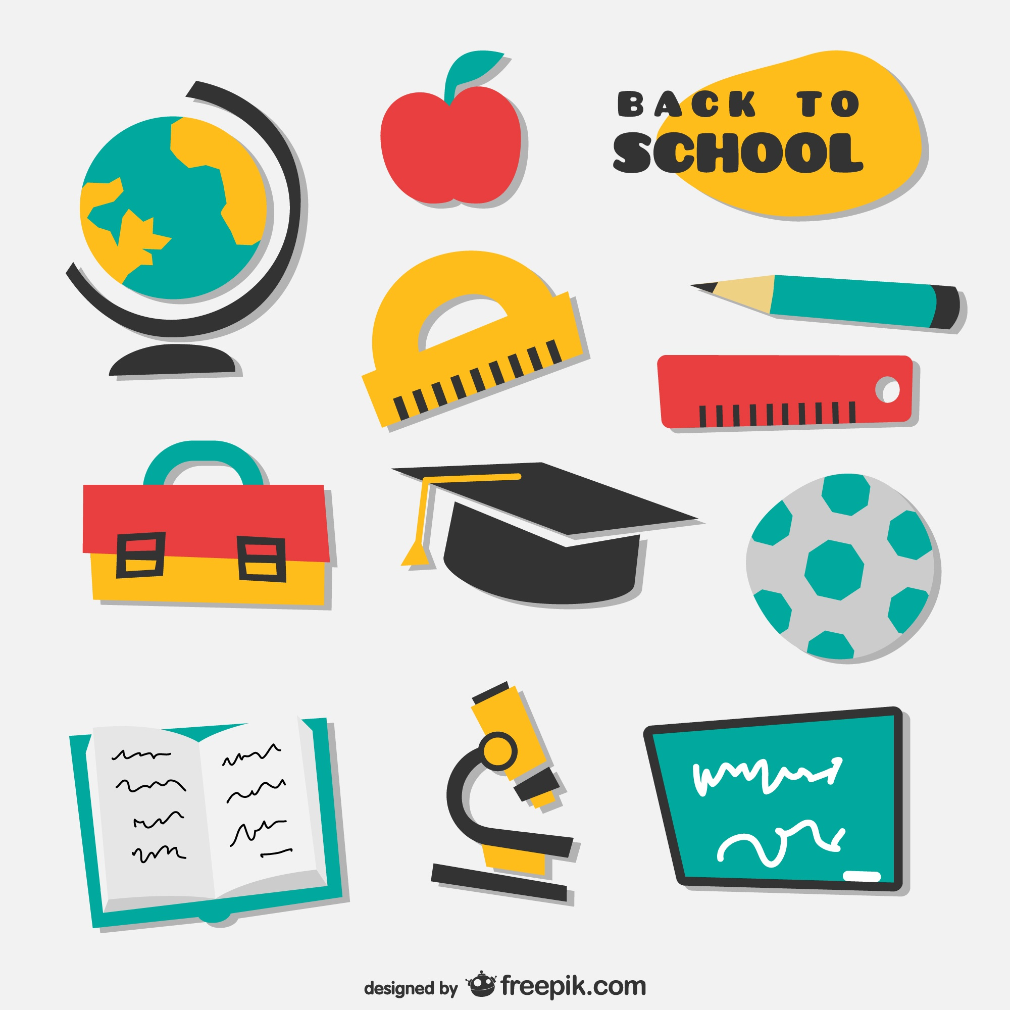 Collection of irregular drawn school icons