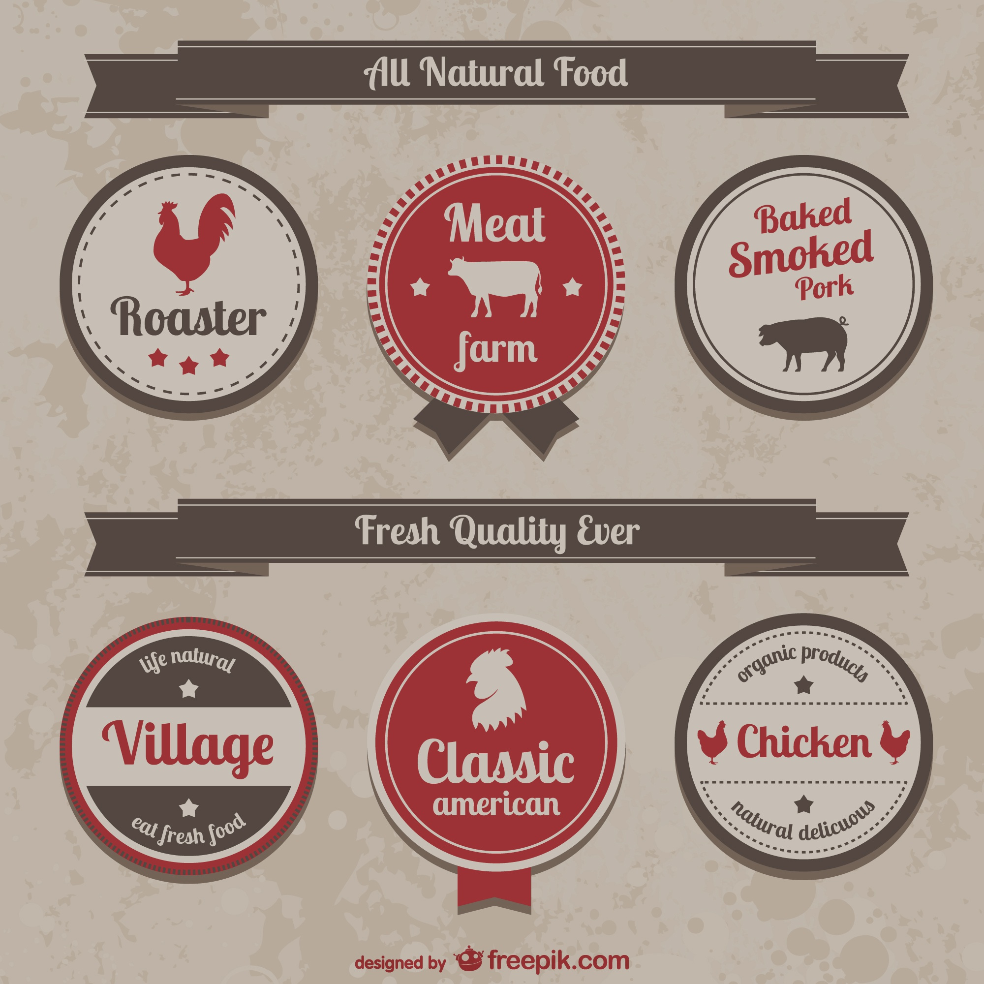 Collection of retro farm food labels and icons