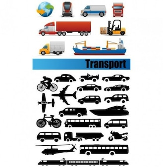 color and b/w transport icon silhouettes set