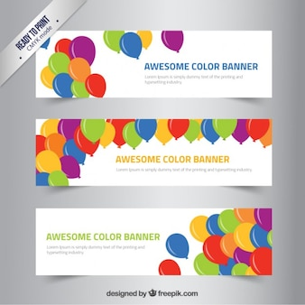 Color banners with balloons