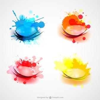 Color splashes vector set