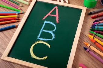 Colored abc on a small blackboard