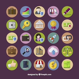 Colored business icons collection