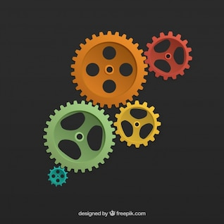 Colored cogwheels background