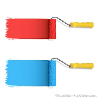 Colored paint roller vector