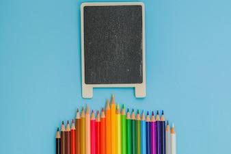 Colored pencils chalkboard