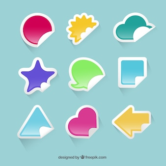 Colored stickers in different shapes