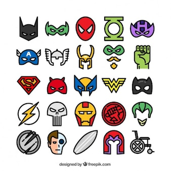 Colored superhero icons
