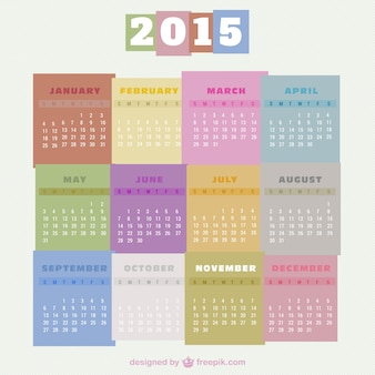 Colorful 2015 calendar free vector