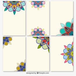 Colorful abstract flowers banners
