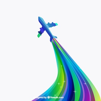 Colorful airplane in abstract style