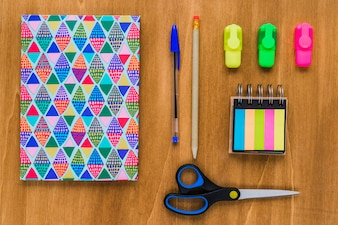 Colorful and organized wooden desk