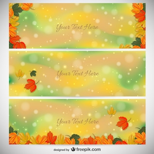 Colorful autumn banner templates