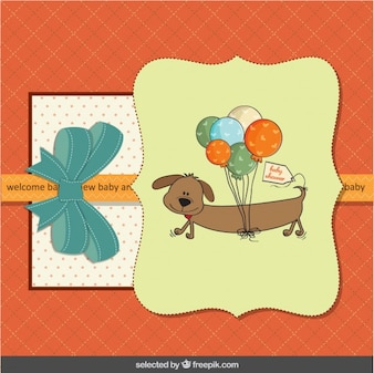 Colorful baby shower card with dog and balloons
