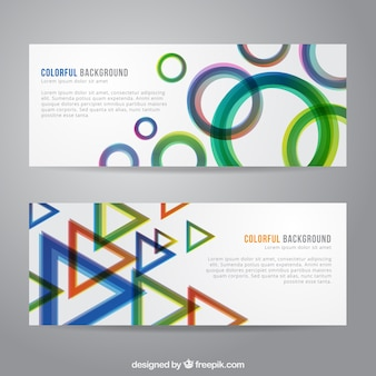 Colorful backgrounds with geometric shapes