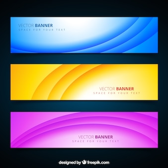 Colorful banners with waves