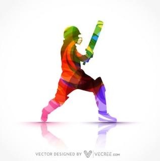 Colorful Batsman Silhouette
