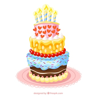 Colorful birthday cake illustration