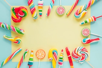 Colorful border from lollipops