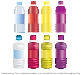 Colorful bottles mock up vector