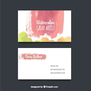 Colorful brushes business card mockup