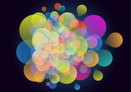 Colorful bubbles on black background