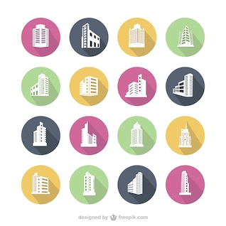 Colorful building icons