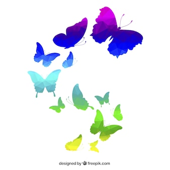 Colorful butterflies in polygonal style
