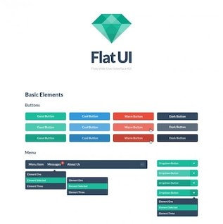 Colorful buttons flat ui kit PSD