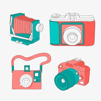 Colorful cameras in vintage style