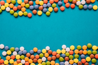 Colorful candy composition with space in middle