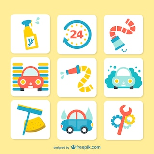 Colorful car wash icons
