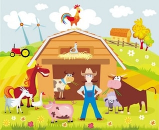 Colorful cartoon farm background