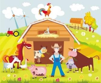 Colorful cartoon farm background