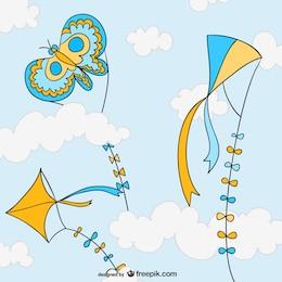 Colorful cartoon kites