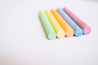 Colorful chalks in close-up
