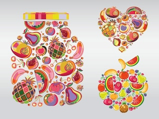 colorful cherry Fruit illustrations vector